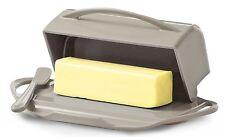 Taupe Butter Dish Holder Covered Flip Top Storage, Spreader Stick Kitchen Dining