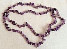 "Purple Stone Crystal Necklace 20"" Strand"