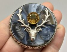 RARE LARGE ANTIQUE VICTORIAN SCOTTISH MONTROSE AGATE STAG CITRINE SILVER BROOCH