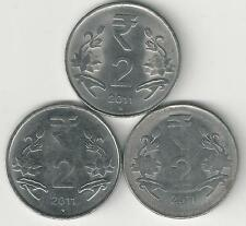 3 DIFFERENT 2 RUPEE COINS from INDIA (ALL DATING 2011/MINT MARKS of B, C & N)