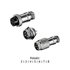 Mikrofon Verbinder Funkgeräte Einbaustecker | Kupplung | Stecker 2-8 pol. Metall