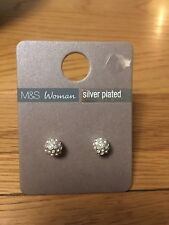 M & S Woman Sliver Plated Sparkle Ball Earrings