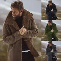 Men's Chic Fur Fleece Lined Thicken Lapel Collar Coat Jacket Winter Outerwear WU