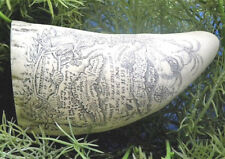 Scrimshaw Sperm Whale Tooth Handmade Replica Ship Bone Pirate Map Art Fossil New