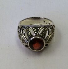 Exquisite Sterling Silver Marcasite Domed Ring with Round Garnet Bezel Set Sz 6