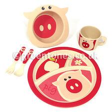 Green Tones Kids Set - Pig - Bamboo Fibre/Eco/Baby/Toddler/Childrens Dinner Set