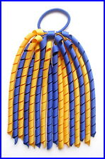 DARK ROYAL BLUE YELLOW GOLD SCHOOL UNIFORM KORKER HAIR PONYTAIL CORKER STREAMER