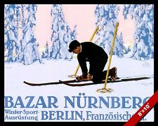 VINTAGE GERMAN WINTER SNOW SKI VACATION TRAVEL AD POSTER ART REAL CANVAS PRINT