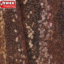Bronze Sequin Fabric, Glitters, Copper Sequin on Mesh Fabric by the Yard -SQBC