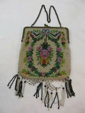 Antique Micro Beaded Purse Bag Lavender Floral Pink Roses Beads Fringe Chain