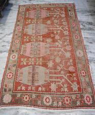 Antique pictorial Khotan Turkestan Chinese Oriental Rug Carpet red muted 5x9