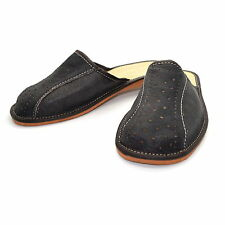 Mens Leather Slippers Mules Dark Brown Size 6 7 8 9 10 11 12 Flip Flop Sandals
