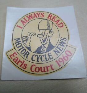 Motorcycle News - Earls Court 1960 - Original NOS - Water Transfer Sticker