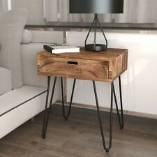 Jaydo, Modern Wood Accent End Table w/ Drawer in Natural Burnt & Light Grey