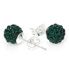 May Birthstone 8mm Rhinestones Crystal Fireball Disco Ball Pave Bead Stud Earrin
