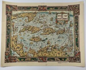 ORIGINAL 1936 'Story Map of WEST INDIES' Pictorial MAP - BAHAMAS CUBA Caribbean