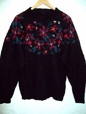 LL Bean 70% Mohair Black Sweater Red Flowers Poinsettia Floral L vintage Floral