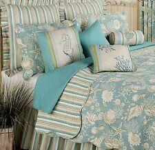 Queen Quilt Tropical Beach Blue and Tan Shells Cotton