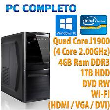 PC COMPUTER DESKTOP FISSO COMPLETO QUAD CORE RAM 4GB HDD 1TB WIFI WINDOWS 10 PRO