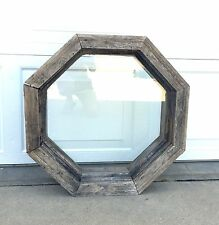 Vintage OCTAGON SPECIALTY WINDOW Primitive Wood Frame ARCHITECTURAL SALVAGE