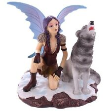 Dekofigur Natasha Faulkner Hockende Schneefee mit Wolf Figur Statue Fabelwesen