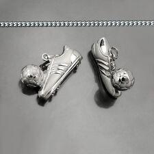 Fußball Schuh mit Ball Motiv Anhänger Echt Silber 925 mit Kette Länge wählbar
