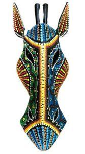 WOODEN MASK AFRICAN SAFARI GIRAFFE HAND CARVING DECORATIVE WALL SCULPTURE