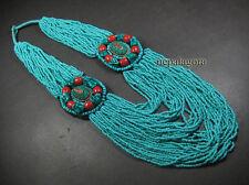 N4983 Tribal Strand Glass beads bone gypsy handmade FASHION NECKLACE TIBETAN