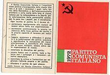TESSERA PARTITO COMUNISTA  ITALIANO 1972 CON TIMBRO SEZIONE DI  MELEGNANO