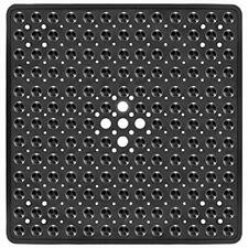 Bathtub Shower Non Slip Bath Mat With Suction Cups Drain Holes Tub Square Black