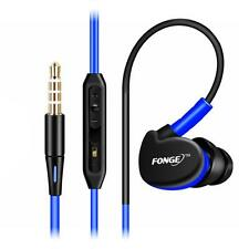 3.5mm Stero Headset In Ear Earbud Sport Waterproof Bass Earphone W/Mic Blue*
