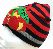 Men Women Stripe Cherry Knit Baggy Beanie Winter Hat Ski Chic Knitted Cap Skull