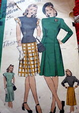 LOVELY VTG 1940s DRESS HOLLYWOOD Sewing Pattern 12/30