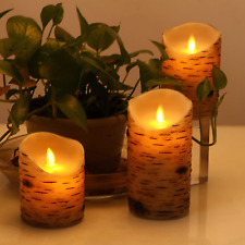 Flameless Led Candles 3 Pc Birch Moving Flickering Real Wax Battery Remote Timer