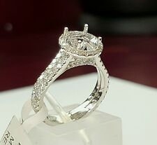 1.16 Ct Diamond 14k White Gold Semi Mount Engagement Ring for 1-1.5 Ct Round