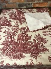Waverly Curtain Panel Country Life Fabric Garnet Red Toile Heavy Cotton Fabric