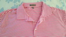 Peter Millar Summer Comfort short sleeve poly/spandex polo XL red white striped