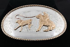 COMSTOCK SILVERSMITHS COWBOY ON HORSE ROPING CALF BELT BUCKLE  4713