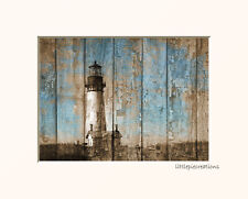 Lighthouse Rustic Beach Wall Art Picture Home Decor Photography Matted Artwork