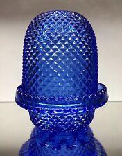 RARE ANTIQUE VICTORIAN BLUE GEORGE DAVIDSON DIAMOND GLASS FAIRY NIGHT LIGHT LAMP
