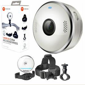 Motorola VerveCam+ Action Camera Waterproof Portable With 4 Piece Action Bundle