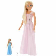 Große Puppe 105cm mit Haaren und Kleidung blond Mädchen XXL Prinzessin Stehpuppe