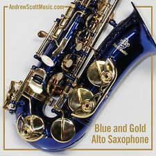 New Blue and Gold Alto Saxophone in Case - Suitable for both Professionals Age 9