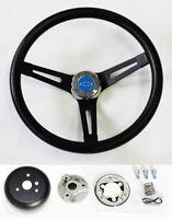 "Chevelle Camaro Nova Impala Black on Black Steering Wheel Blue Bowtie 13 1/2"""