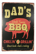 Dads World Famous BBQ Tin Sign Bar Diner Cafe Garage Wall Decor Retro Metal Art