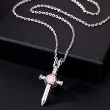 Open Locket Pendant Necklace Fun Gifts Silver Plated Sword Pearl Beads Cage