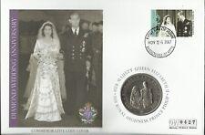 ST KITTS 2007 QE11 DIAMOND WEDDING ANNIVERSARY ONE DOLLAR COIN COVER 0427