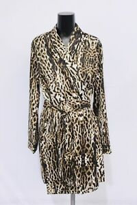 Frederick's of Hollywood Women's Harietta Satin Robe MP7 Leopard Medium NWT