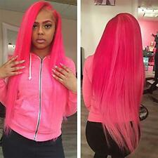 Hot Pink Long Silky Straight Lace Front Wigs Pre Plucked Synthetic Wig Baby Hair