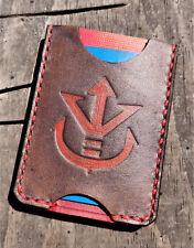 Handmade MINUS Minimalist Leather Wallet Red Gray Dragon Ball Saiyan Royal Crest